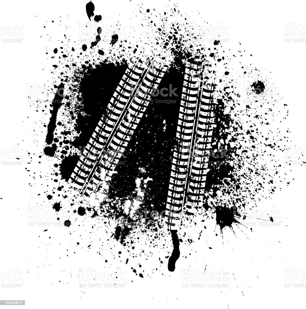 Ink blots and tire track vector art illustration