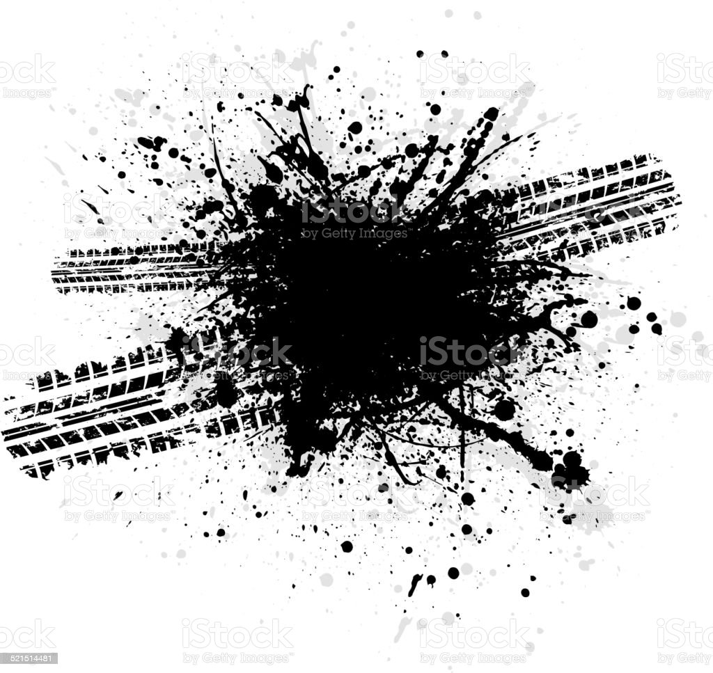 Ink blots tire track vector art illustration