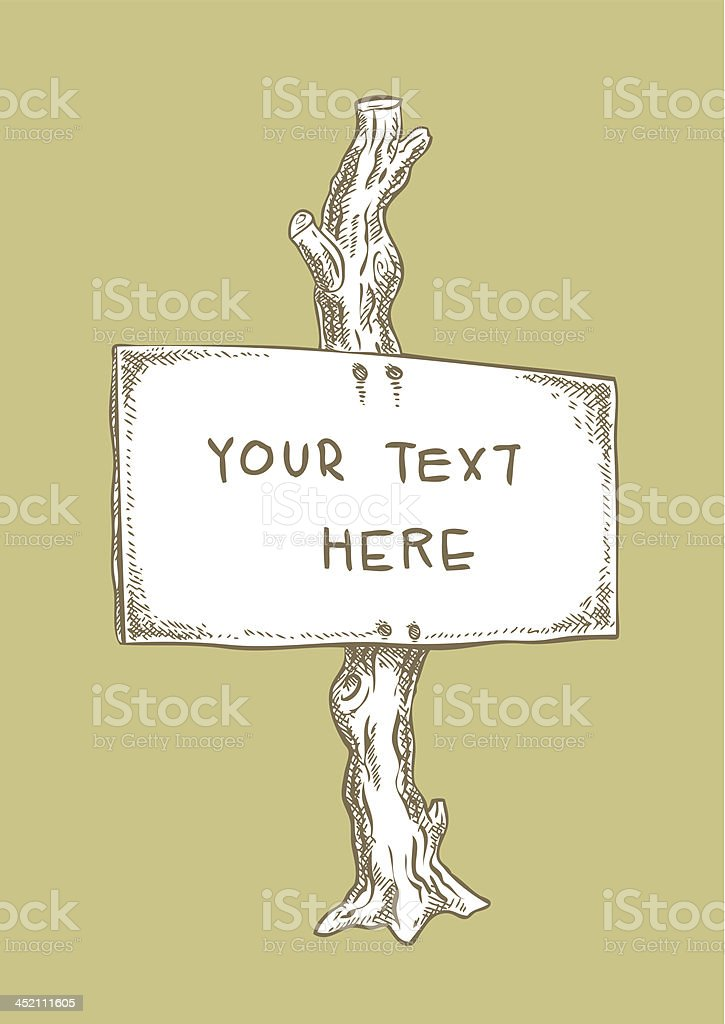 Ink Drawing, Signboard on Post royalty-free stock vector art