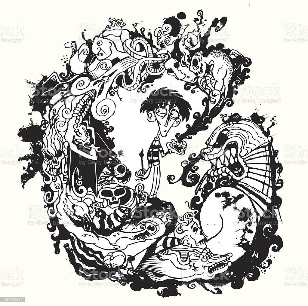 Ink Dream vector art illustration