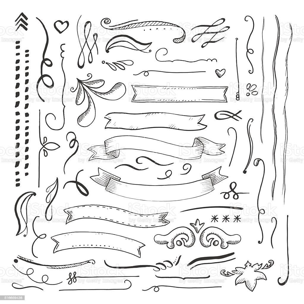 Ink engaved hand drawn decorative elements set vector art illustration
