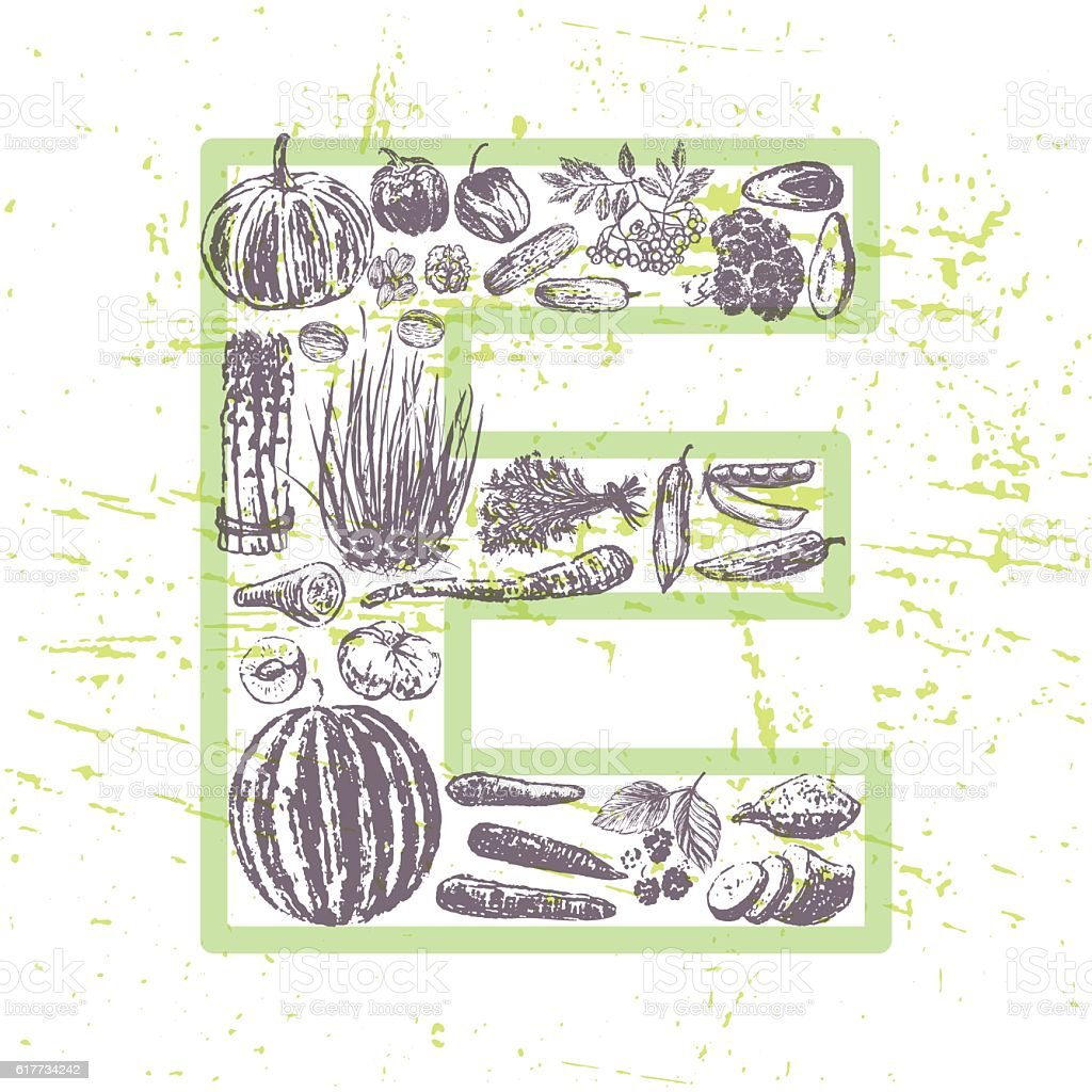 ink hand drawn fruits and vegetables that contain vitamin E vector art illustration