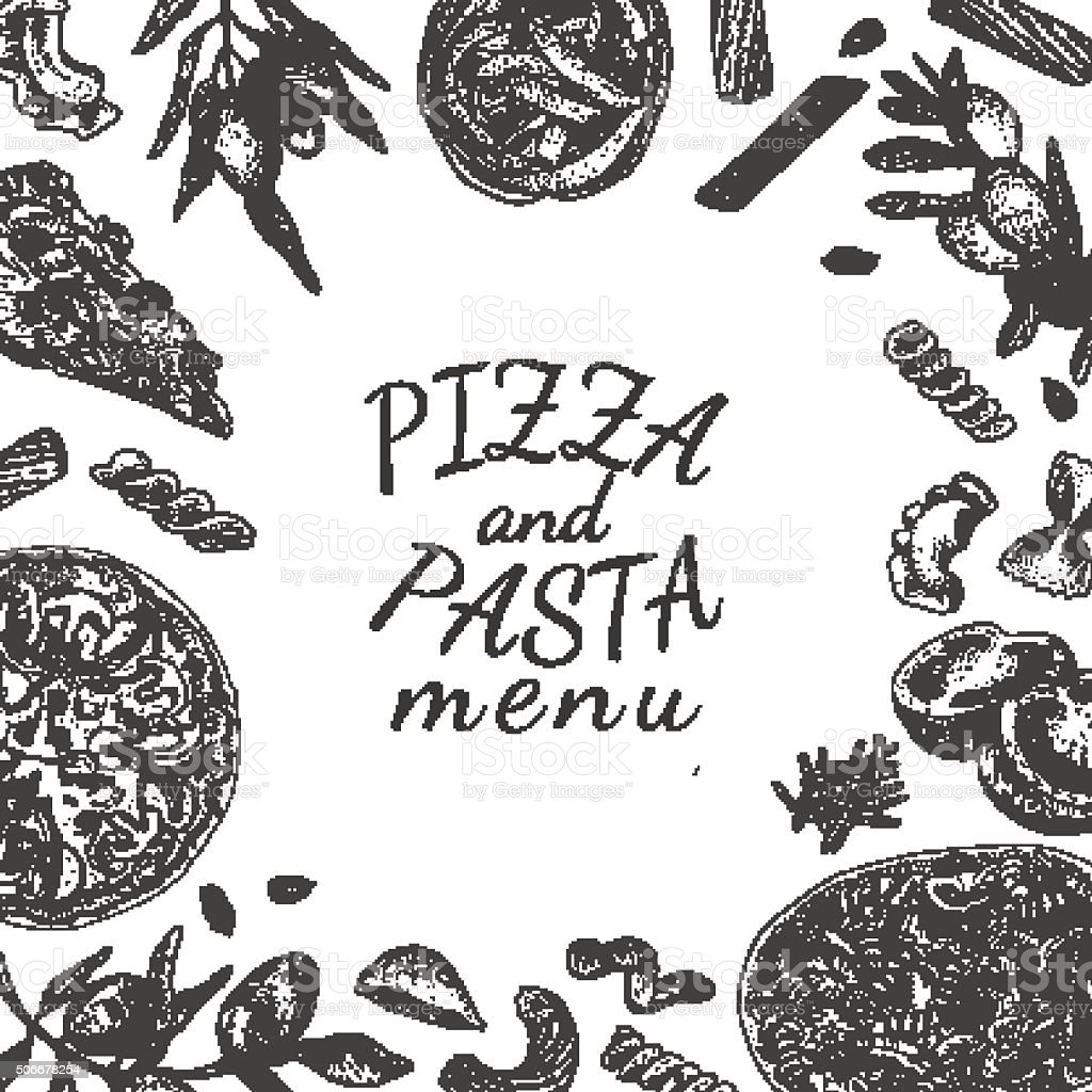 Ink hand drawn pizza and pasta menu template vector art illustration