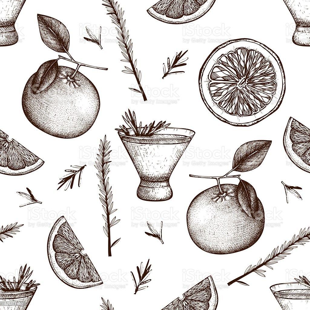 Ink hand drawn rosemary fizz background vector art illustration