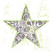 Ink hand drawn veggies star