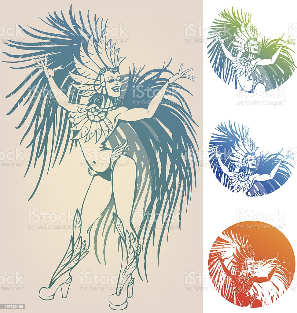 ink line work dancing girl in carnival feather costume royalty-free stock vector art