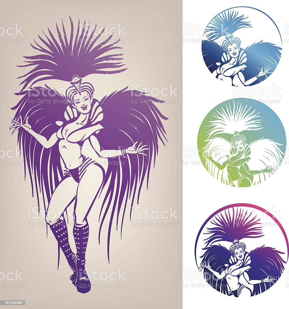 ink line-work dancing girl in carnival feather costume royalty-free stock vector art