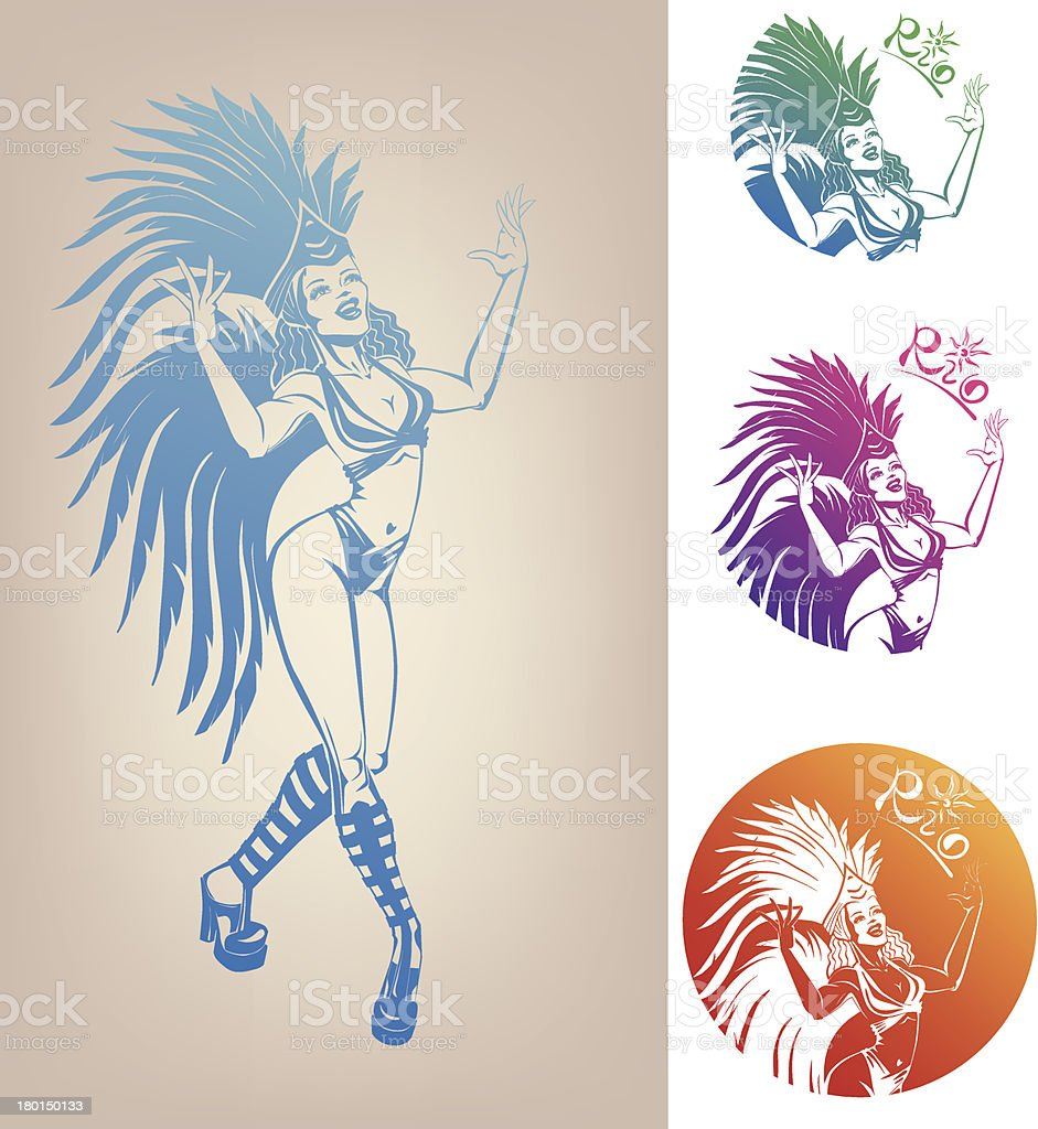 ink linework dancing girl in carnival feather costume royalty-free stock vector art