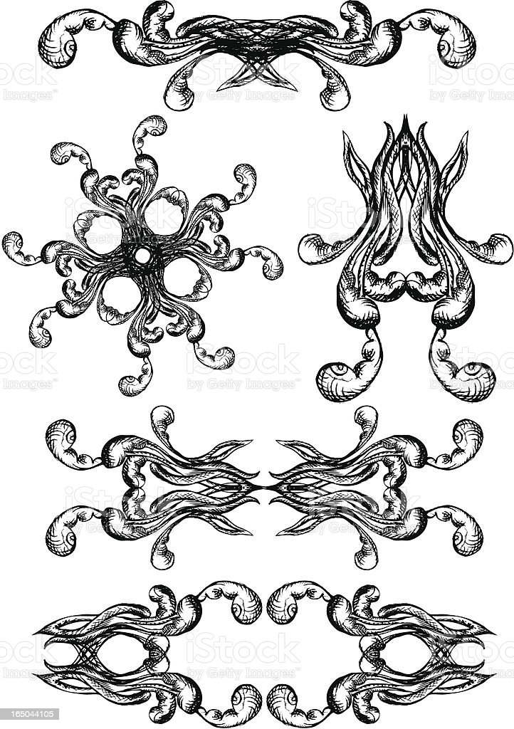ink octopuss graphic elements royalty-free stock vector art