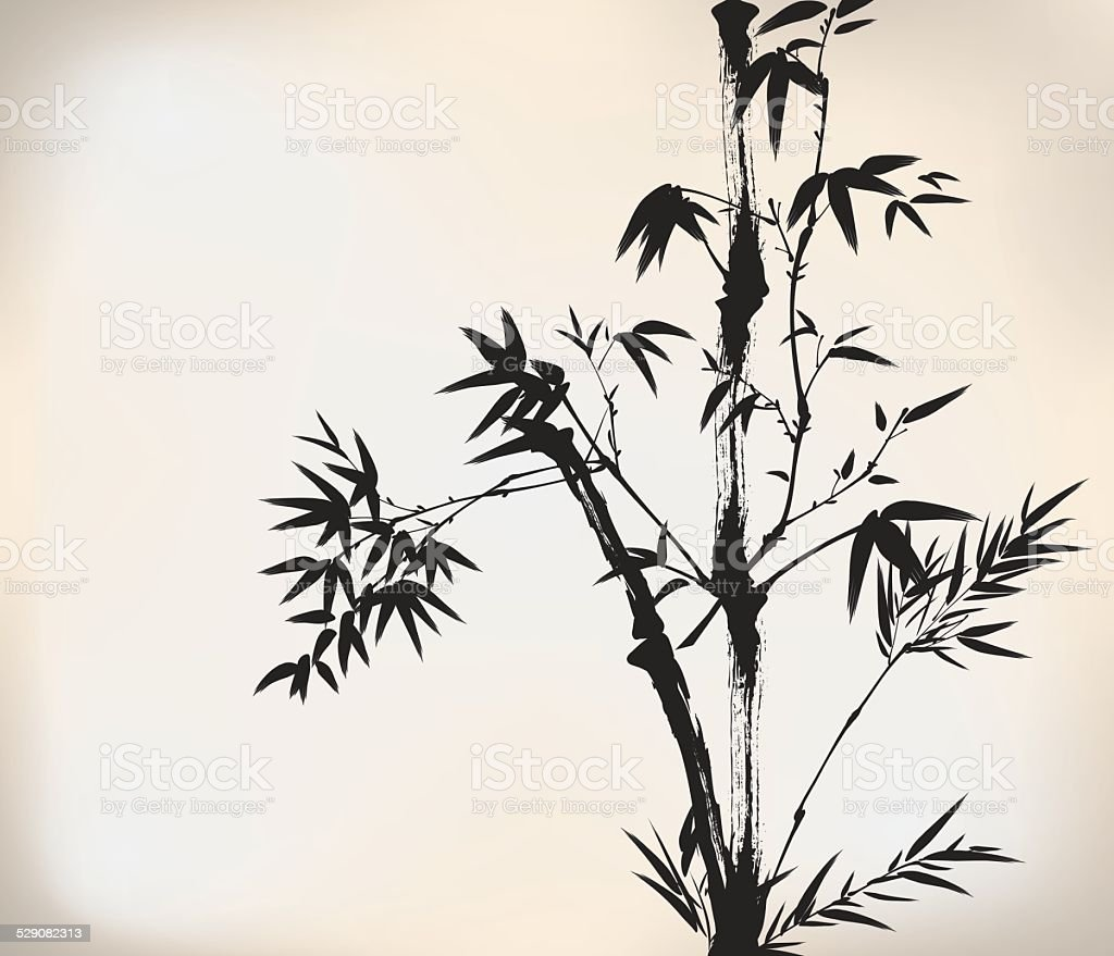 ink painted bamboo vector art illustration