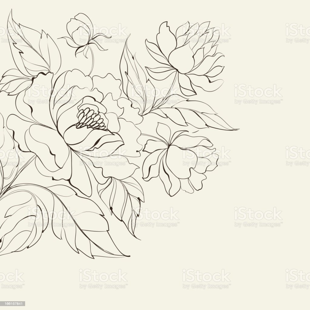 Ink Painting of Peony royalty-free stock vector art