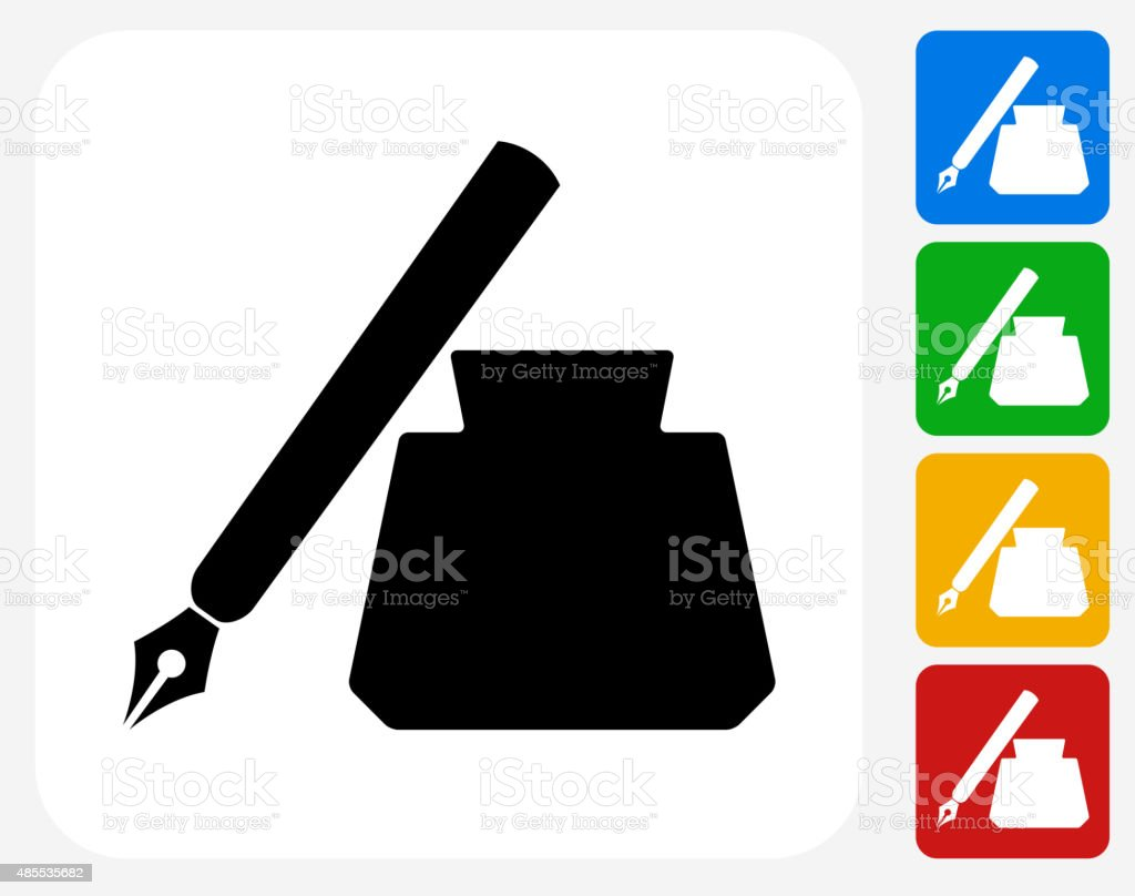 Ink Pen Icon Flat Graphic Design vector art illustration