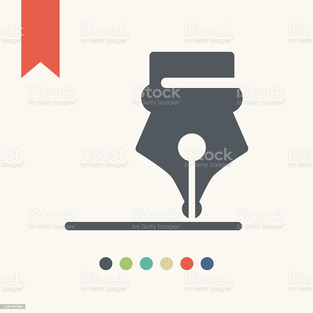 Ink pen icon vector art illustration