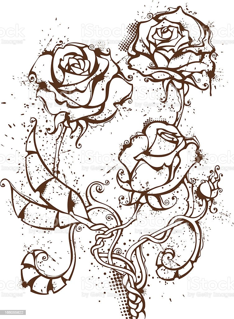 Ink roses royalty-free stock vector art
