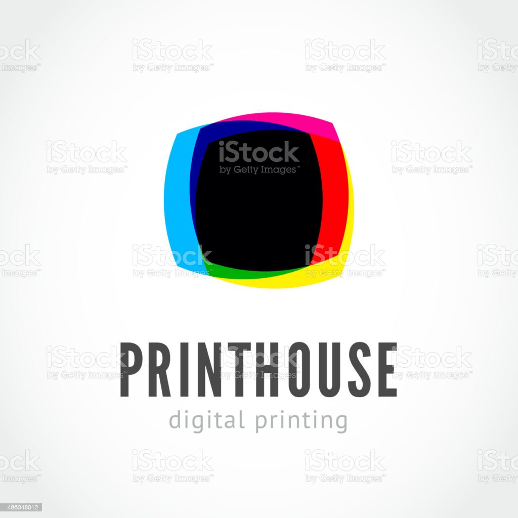 CMYK ink splashes logo vector art illustration