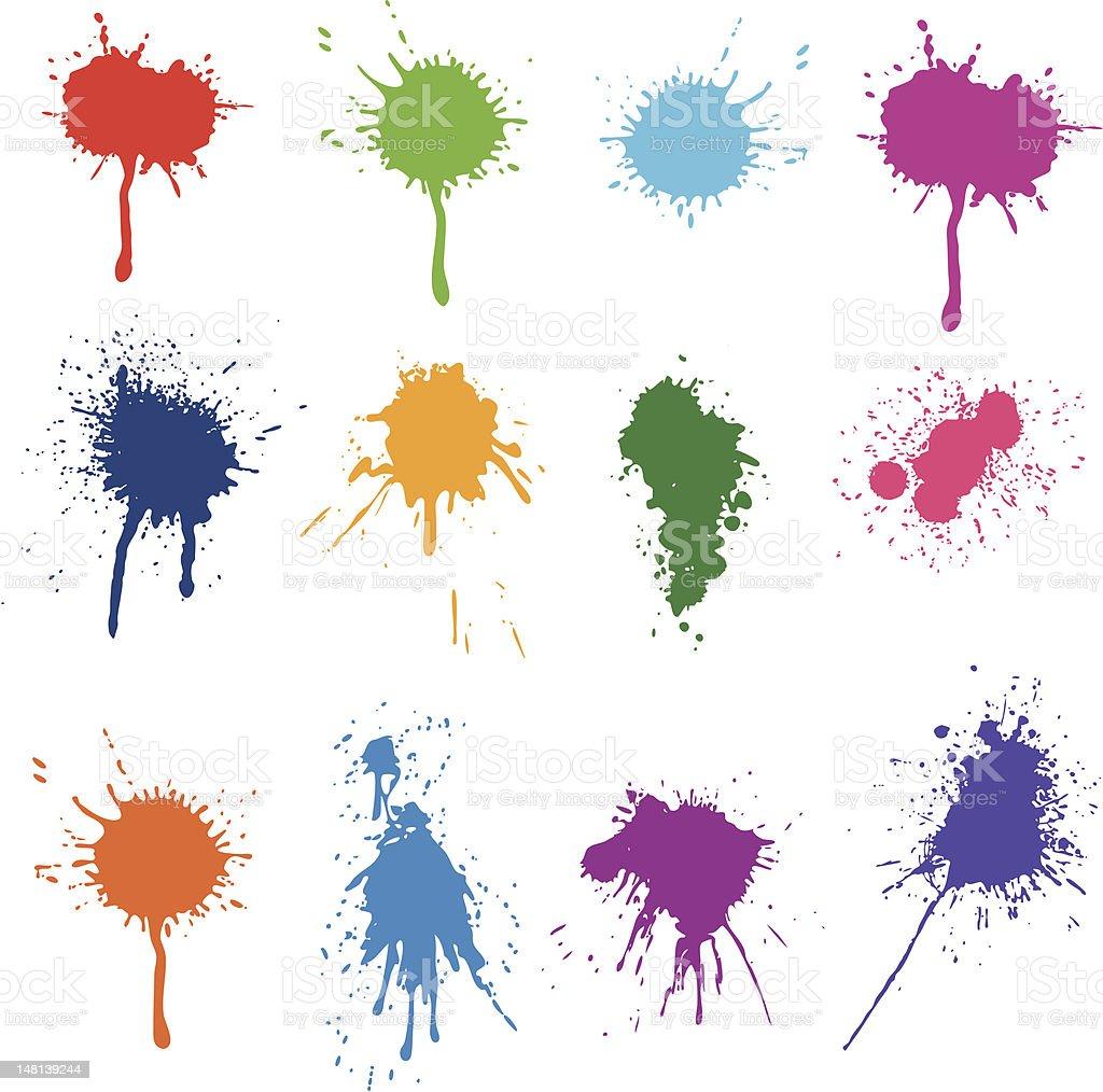 Ink Splashes vector art illustration