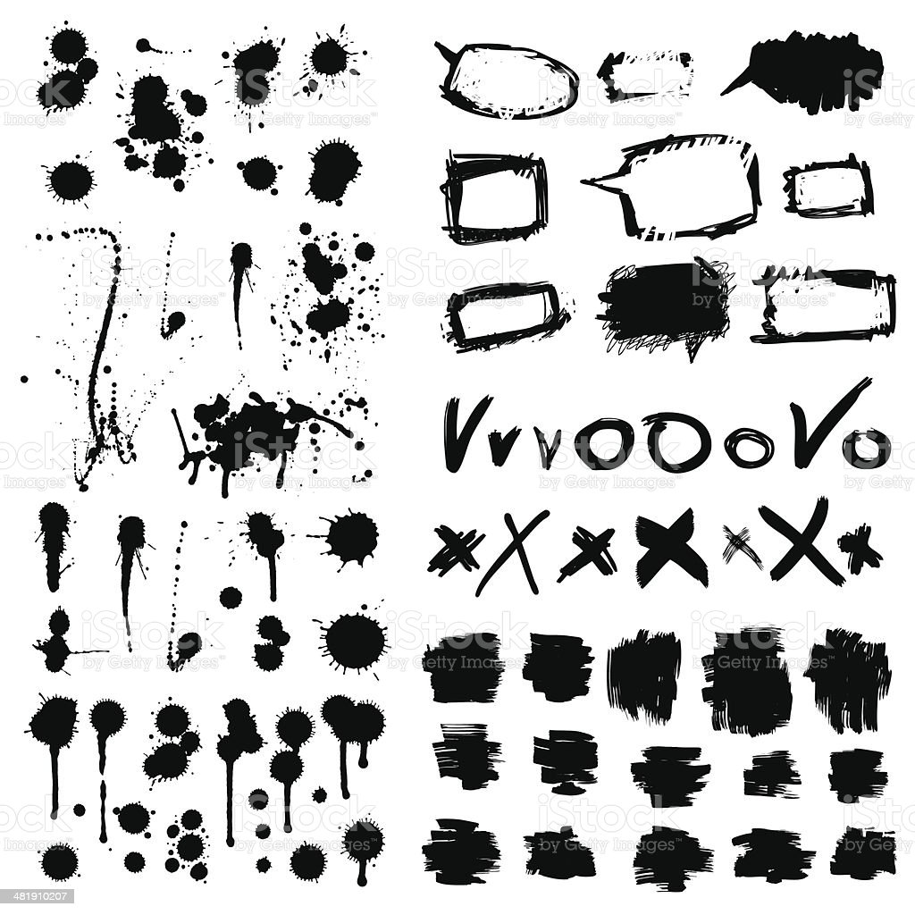 Ink splatters. Grunge design elements collection. vector art illustration
