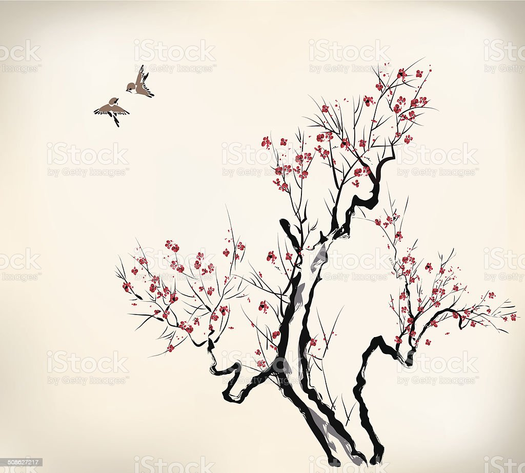 ink style blossom vector art illustration