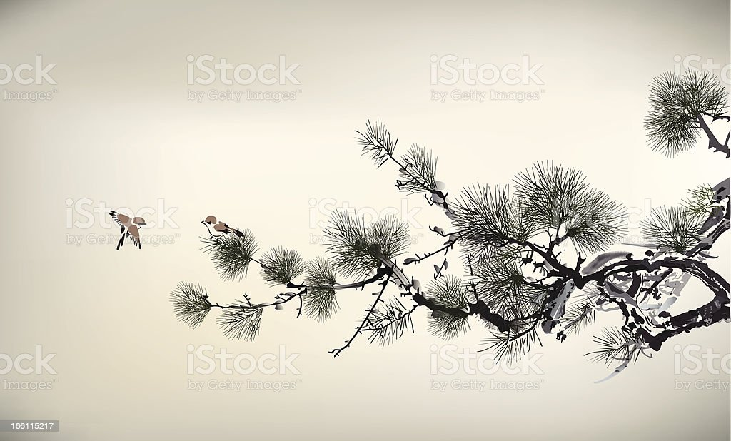 Ink style Pine Tree and birds vector art illustration