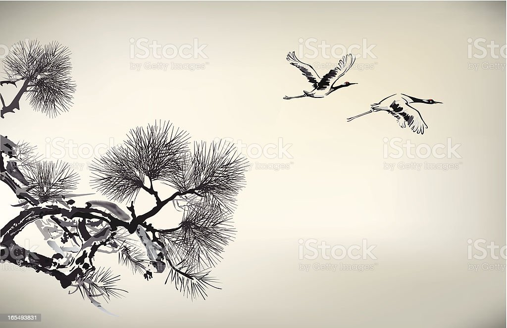 Ink style Pine Tree and crane vector art illustration
