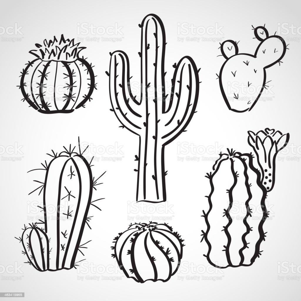 Ink style  sketch set - cactus vector art illustration