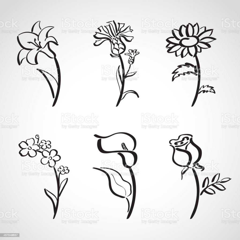 Ink style  sketch set - summer flowers vector art illustration