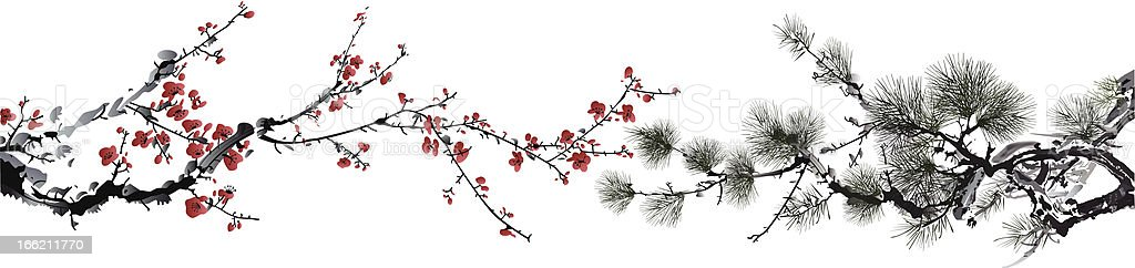 ink style winter sweet and pine tree vector art illustration