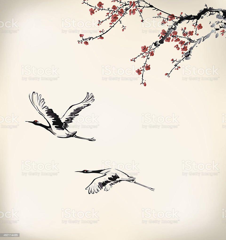 ink winter sweet and crane vector art illustration