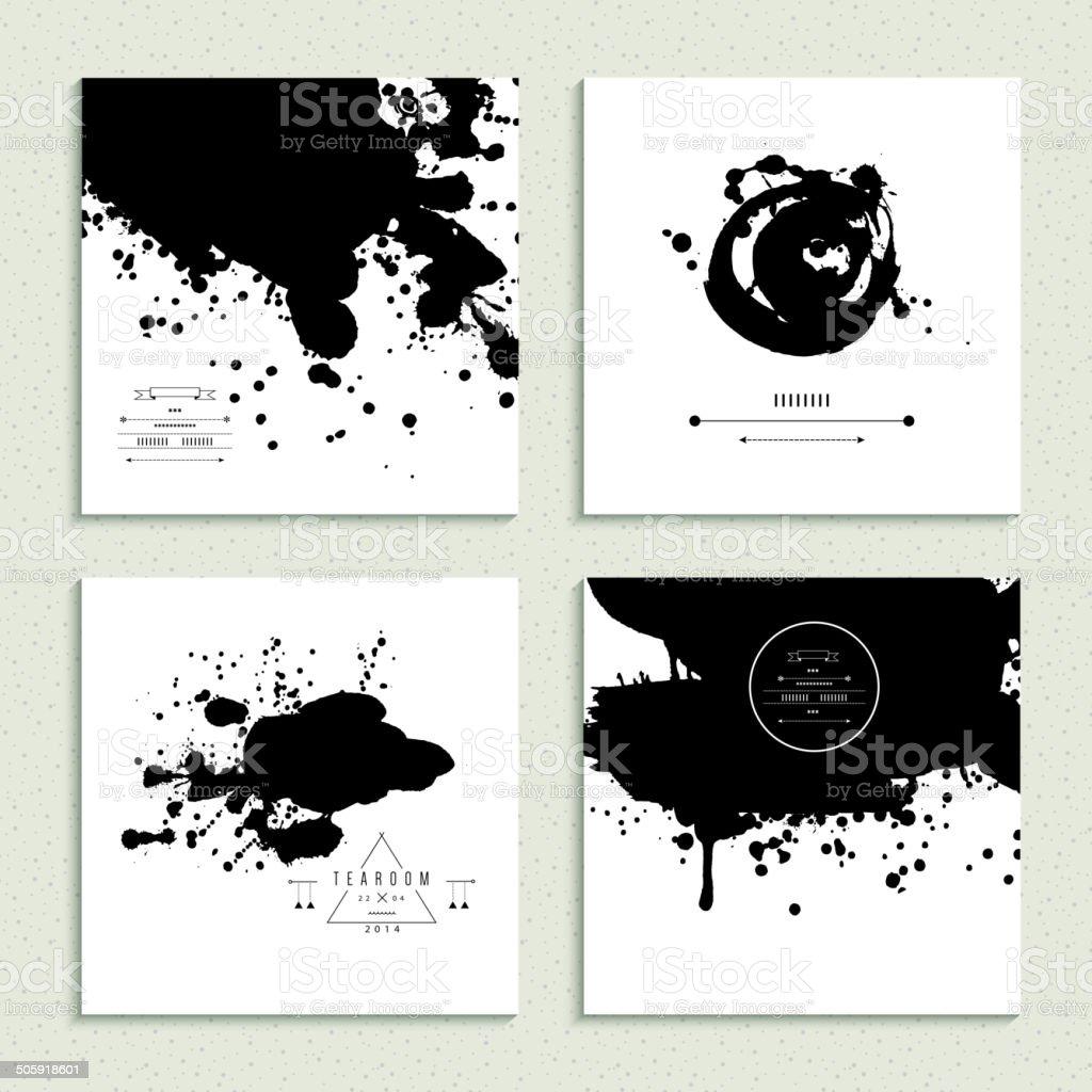 Inkblot collection. Set of four cards. Vector illustration. vector art illustration