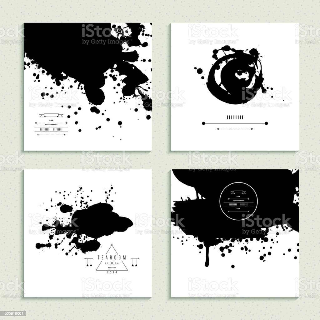 Inkblot collection. Set of four cards. Vector illustration. vector art illustration