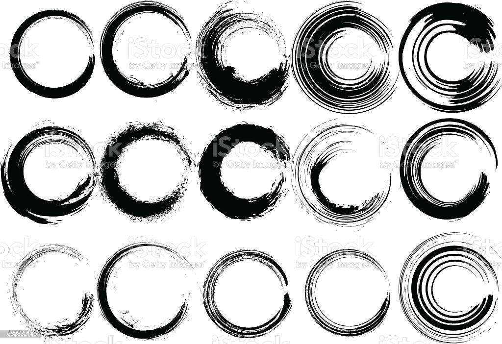 Inked circle brush set vector art illustration