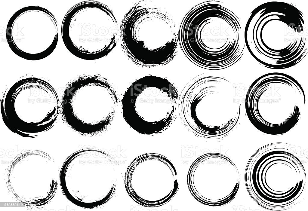 Inked circle brush set vector art illustration