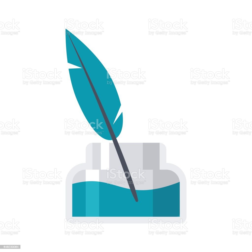 Inkwell and old ink pen vector art illustration
