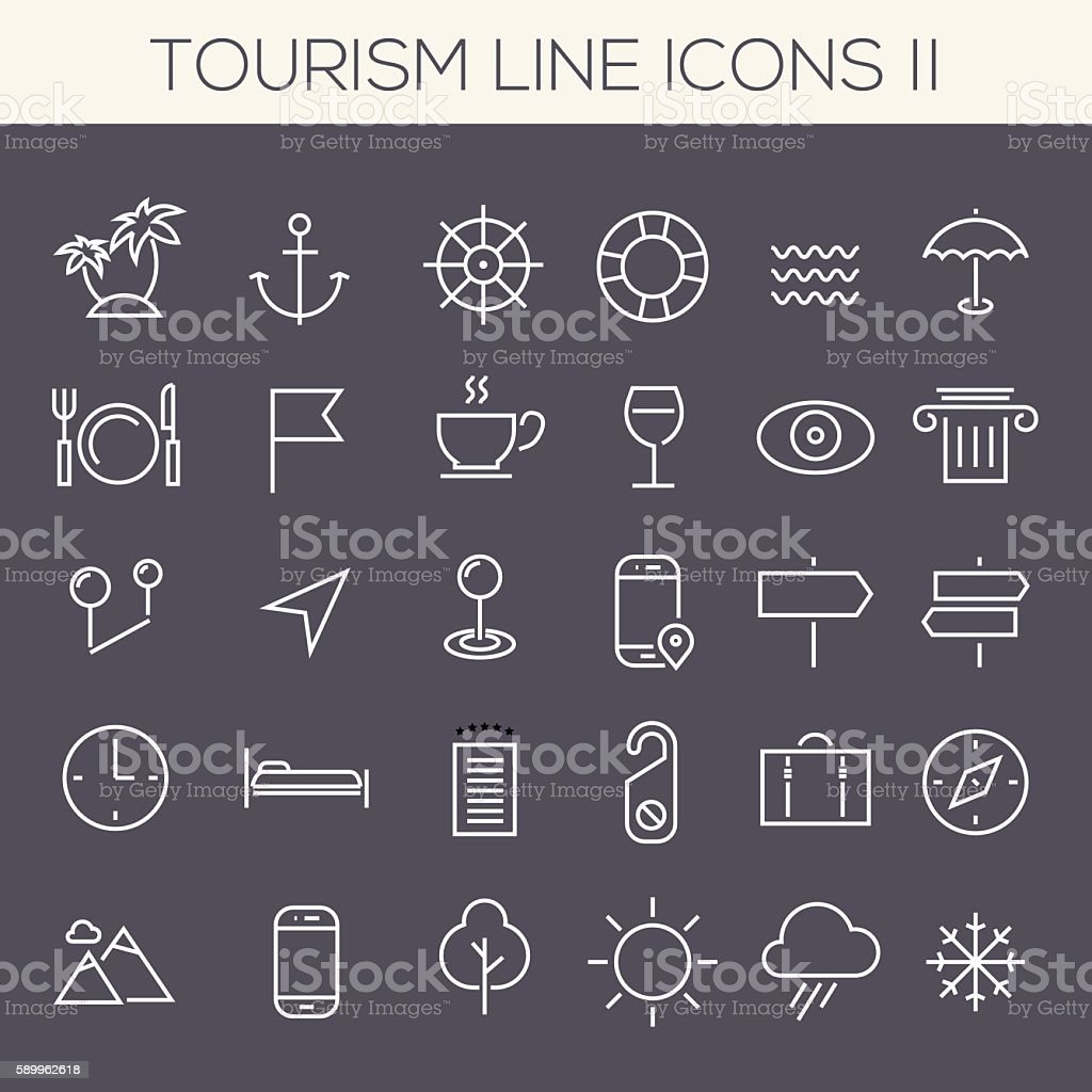Inline Tourism Icons Collection vector art illustration