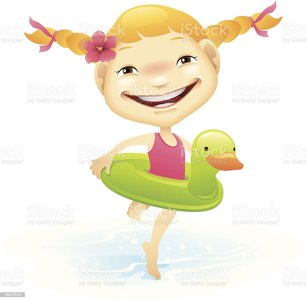 Inner Tube Girl vector art illustration