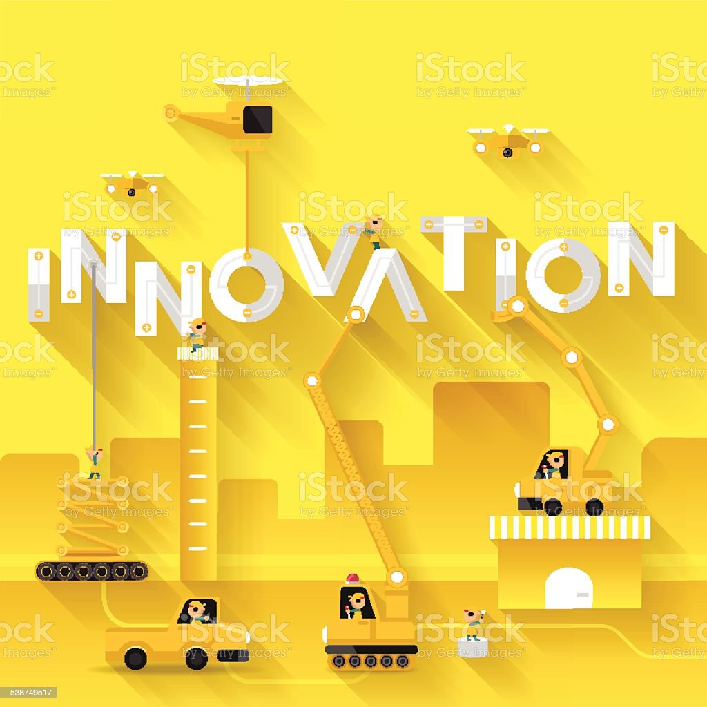 Innovation text illustration in construction vector art illustration