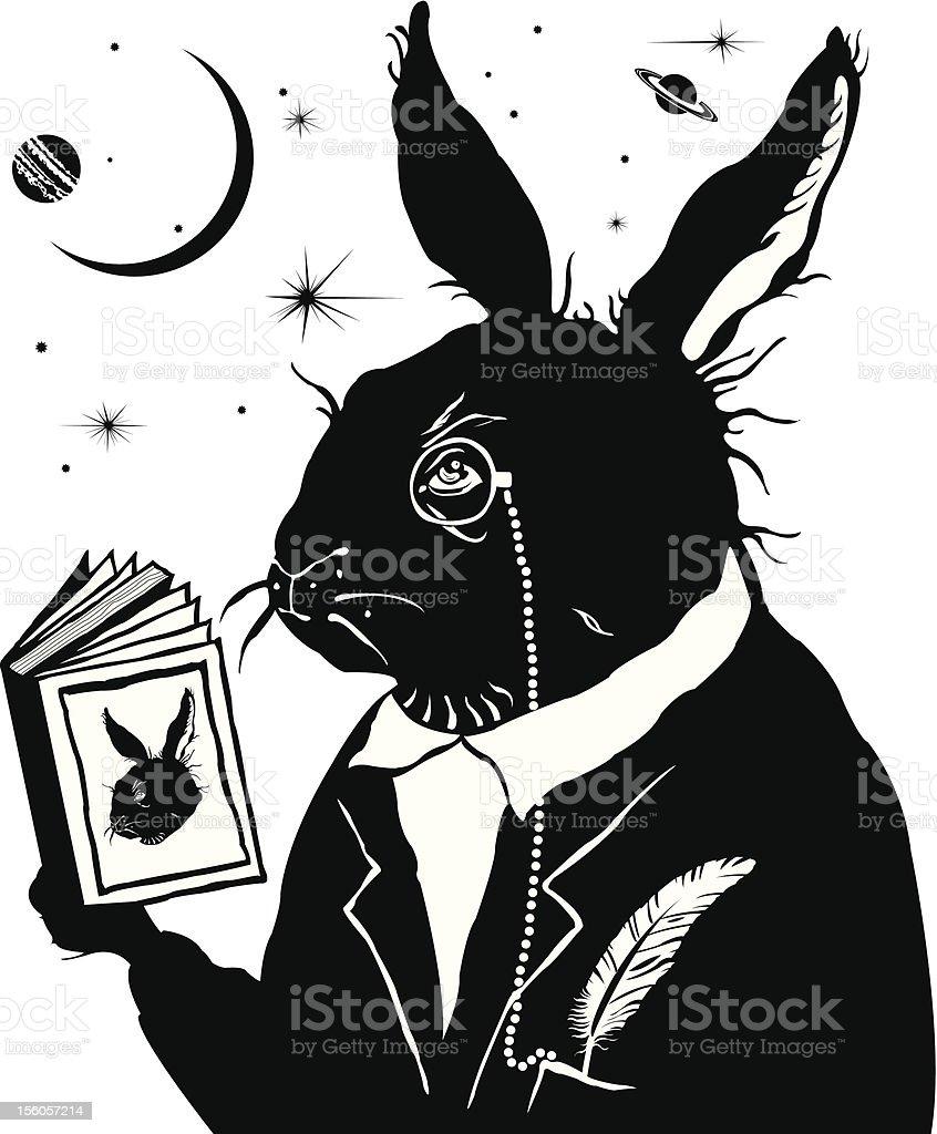 Innteligent rabbit reading the book. royalty-free stock vector art
