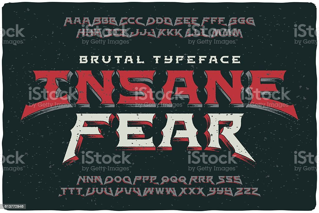 Insane Fear brutal font with textured extrude effect vector art illustration