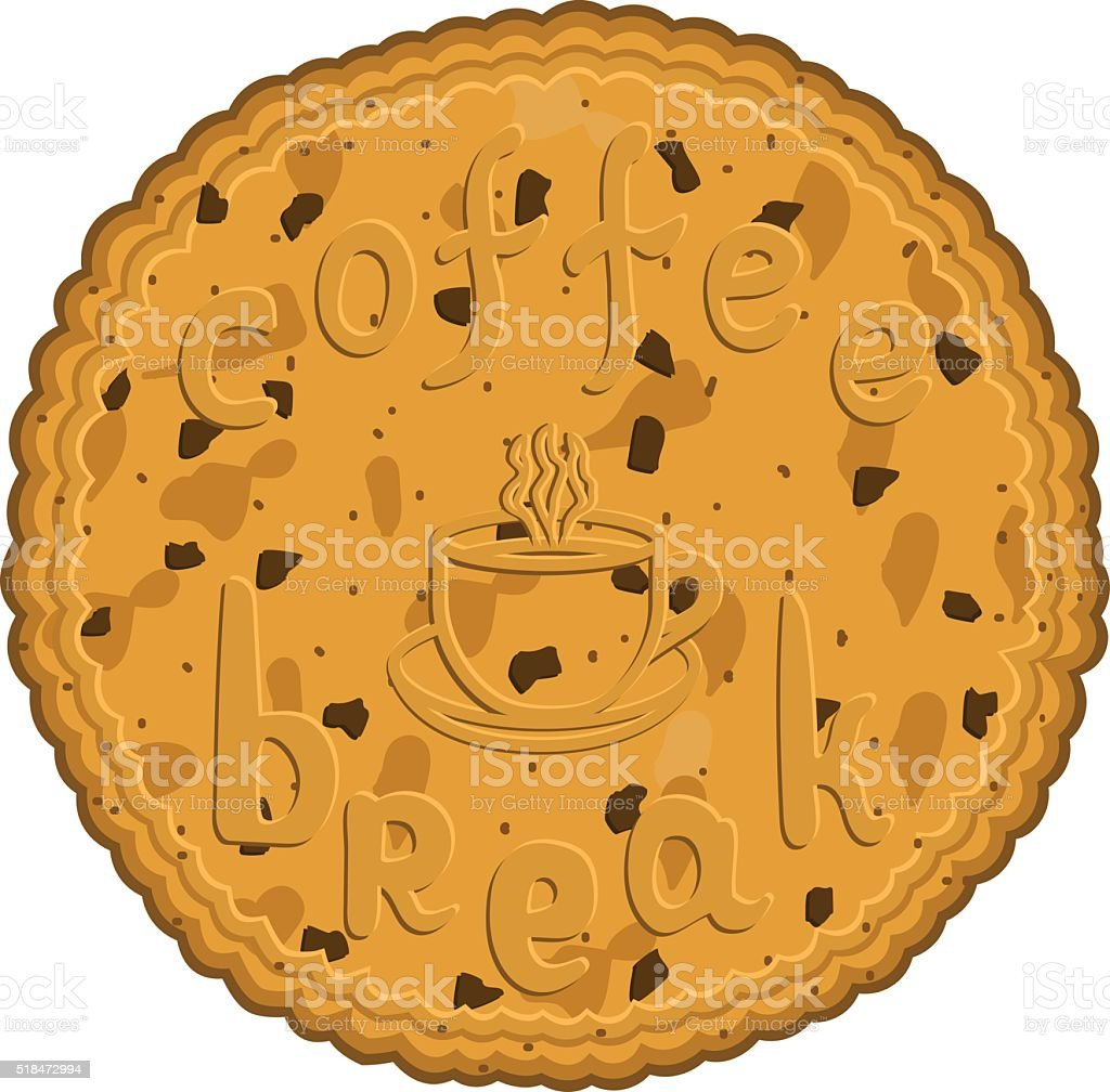 inscription coffee break on a cookie vector art illustration