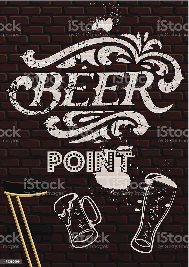 inscription in white paint with beer glasses royalty-free stock vector art