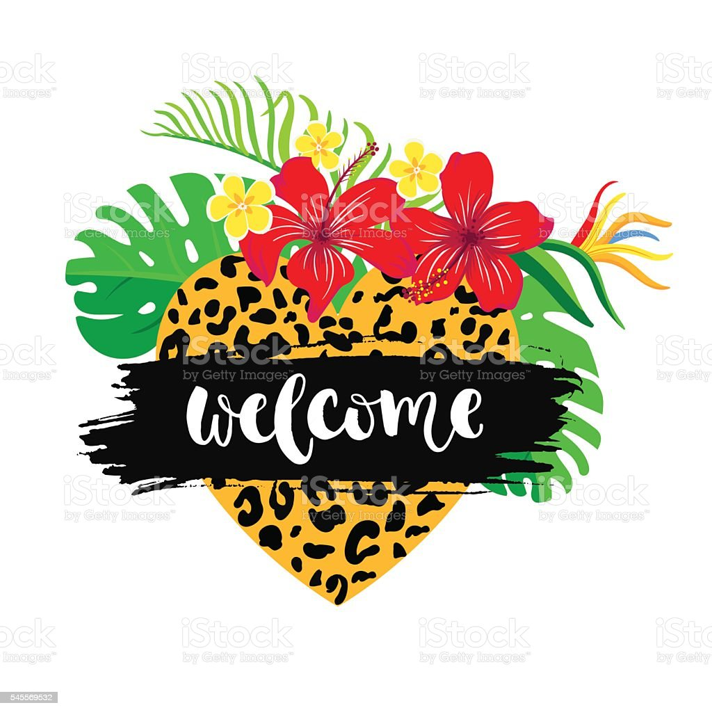 inscription'welcome' with tropical background vector art illustration