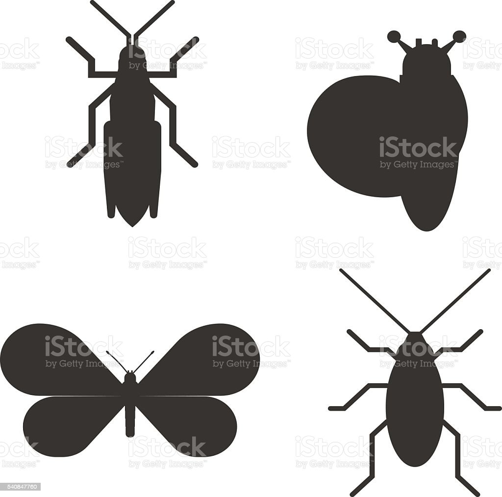 Insect icon black silhouette icons vector art illustration