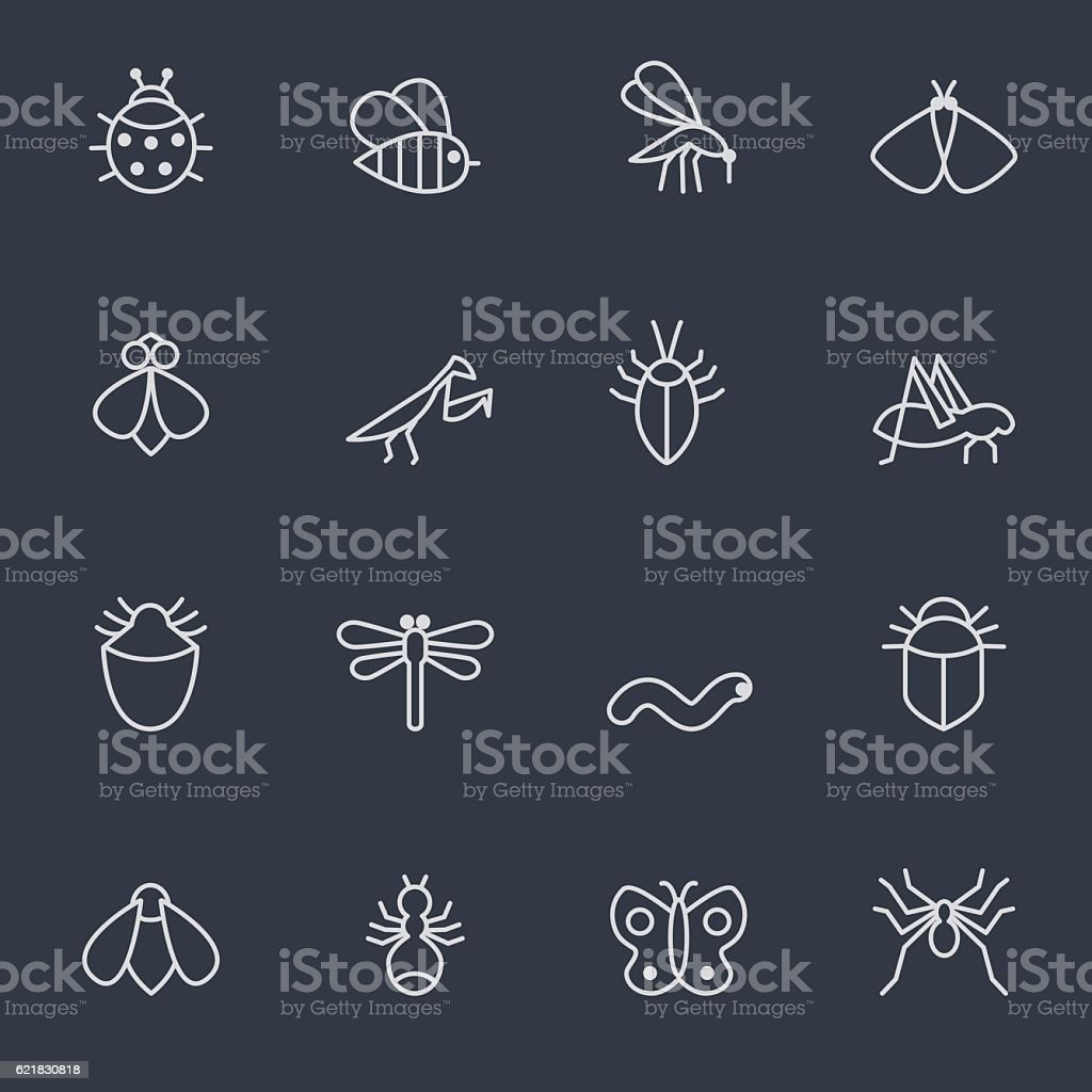 insect icon set vector art illustration