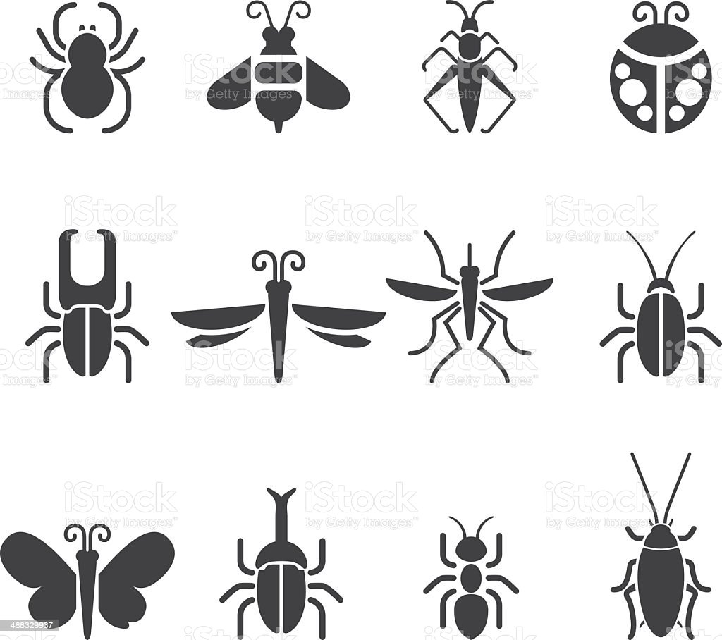Insect Silhouette icons| EPS10 vector art illustration
