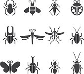 Insect Silhouette icons| EPS10