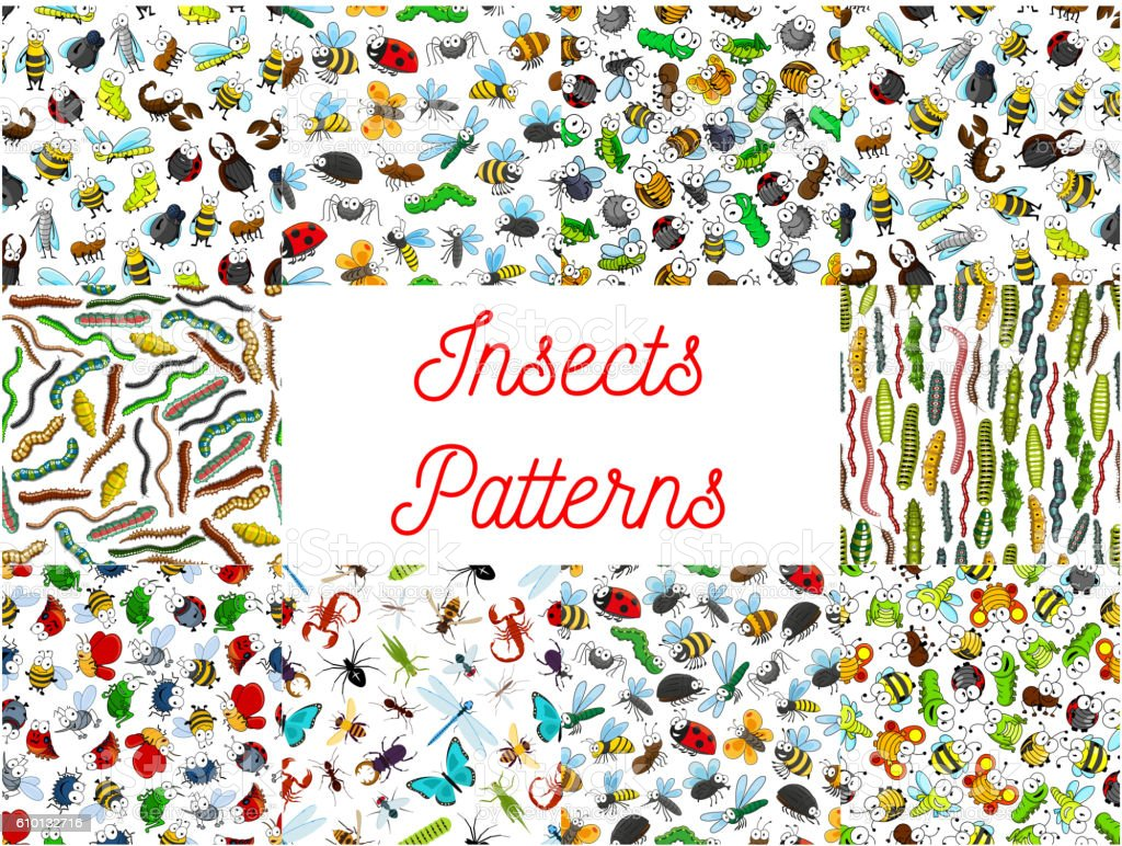 Insects and bugs cartoon pattern patterns vector art illustration