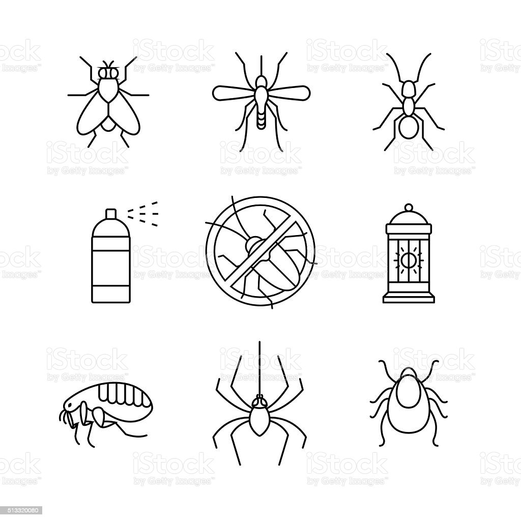 Insects control, anti pest emblem, insecticide vector art illustration