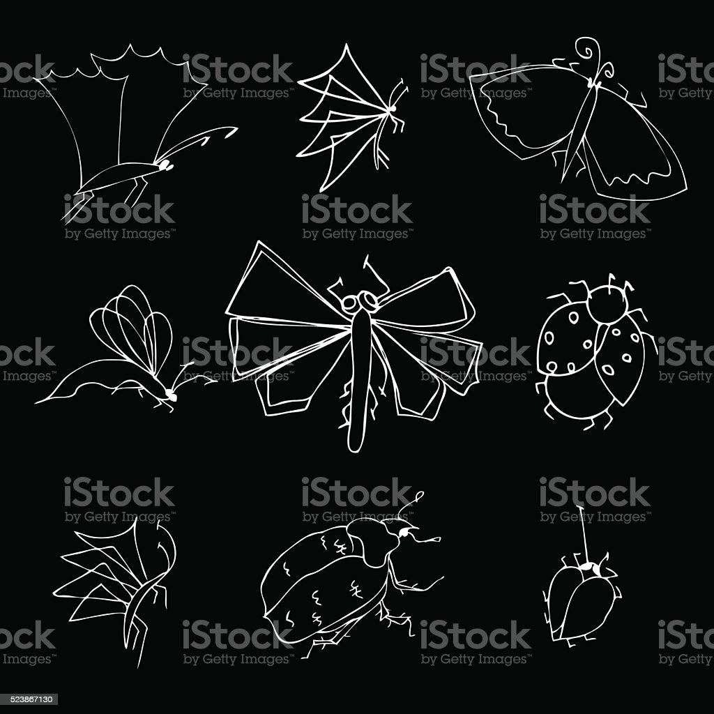 insects doodle set vector art illustration