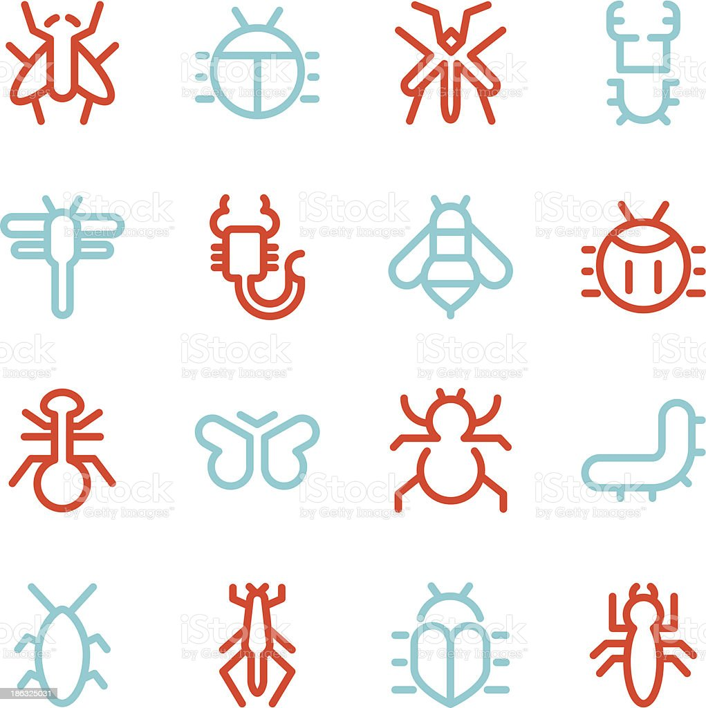 Insects Icons - Line Color Series vector art illustration