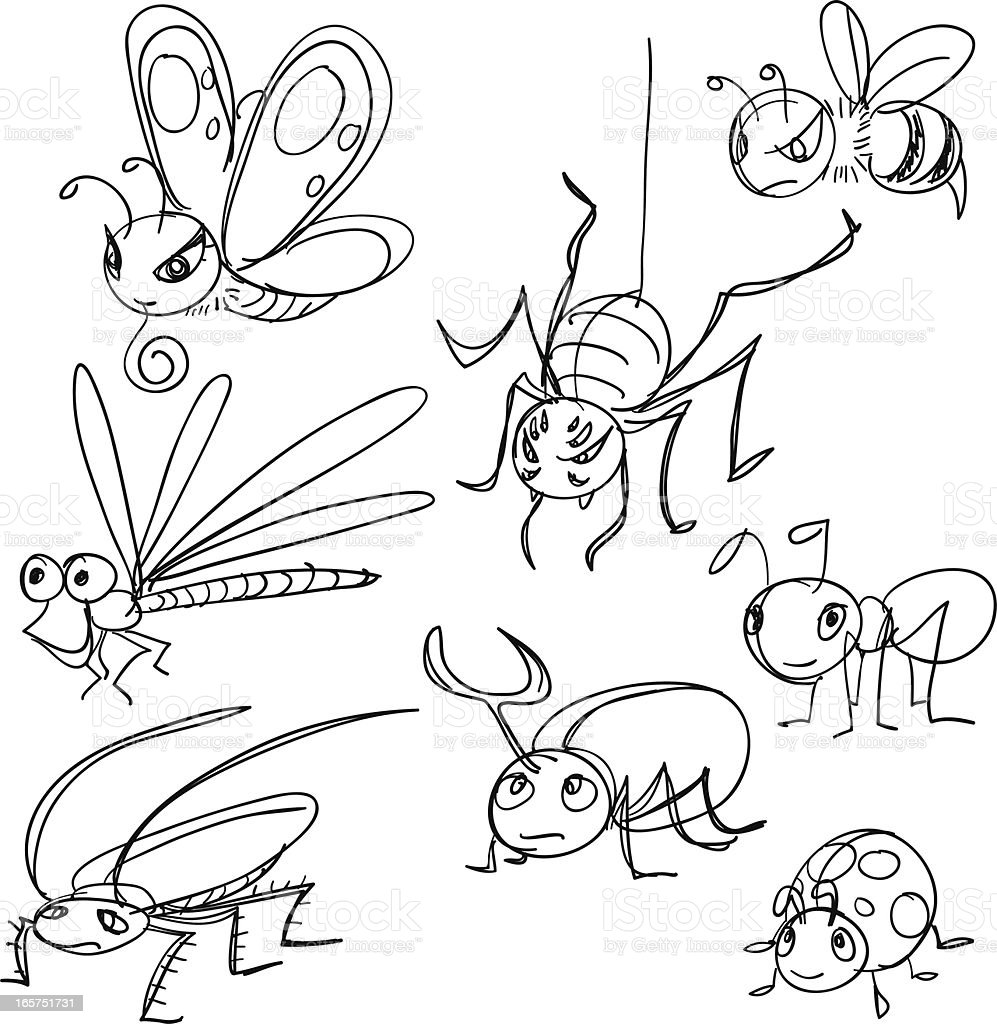 Insects in cartoon style vector art illustration